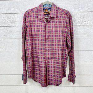 Robert Graham Plaid Embroidered Dress Shirt Size L